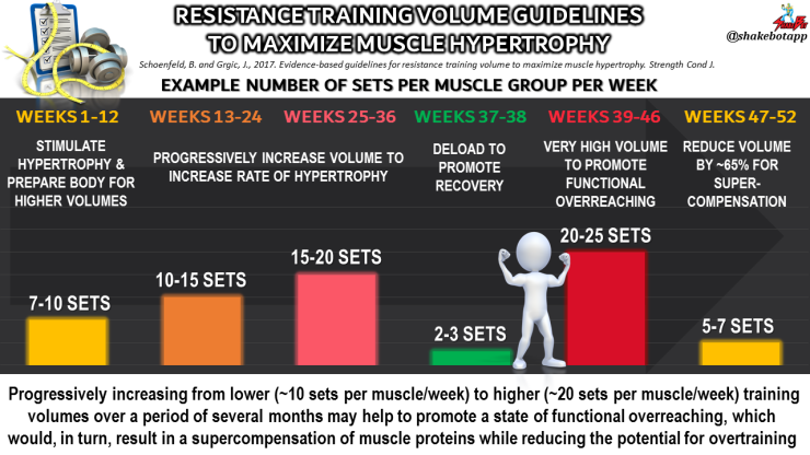 Example resistance training guidelines for maximizing muscle hypertrophy (growth) with resistance training